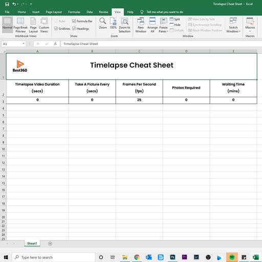 best360 timelapse cheat sheet